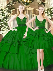 Dark Green Lace Up Quinceanera Dress Beading and Ruching Sleeveless Floor Length