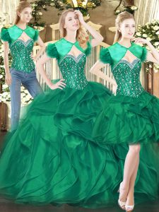 Latest Dark Green Ball Gowns Sweetheart Sleeveless Tulle Floor Length Lace Up Beading and Ruffles Quinceanera Dress