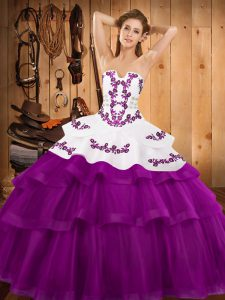 Ball Gowns Sleeveless Fuchsia Quince Ball Gowns Sweep Train Lace Up