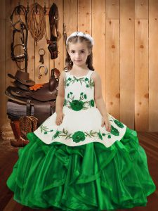 Exquisite Floor Length Green Pageant Dresses Straps Sleeveless Lace Up
