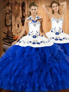 Blue And White Ball Gowns Embroidery and Ruffles Quinceanera Gown Lace Up Satin and Organza Sleeveless Floor Length