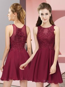 Burgundy Sleeveless Appliques Mini Length Vestidos de Damas