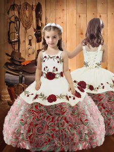 Stylish Multi-color Lace Up Straps Embroidery and Ruffles Custom Made Pageant Dress Fabric With Rolling Flowers Sleeveless