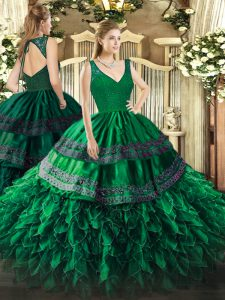 Dark Green Organza Backless Sweet 16 Dresses Sleeveless Floor Length Beading and Lace and Ruffles