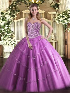 Super Lilac Lace Up Sweetheart Beading Ball Gown Prom Dress Tulle Sleeveless