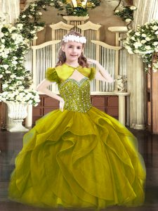 Olive Green Sleeveless Floor Length Beading and Ruffles Lace Up Little Girls Pageant Dress