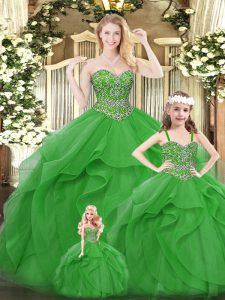 Exceptional Organza Sweetheart Sleeveless Lace Up Beading and Ruffles Sweet 16 Dress in Green