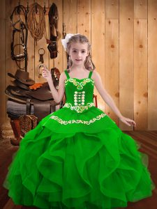 Custom Fit Straps Sleeveless Organza Pageant Dresses Embroidery and Ruffles Lace Up