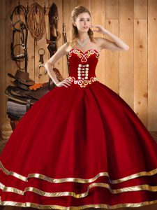 Customized Red Lace Up Sweetheart Embroidery Quinceanera Gowns Organza Sleeveless