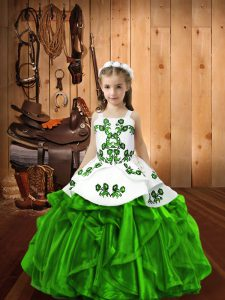 Green Winning Pageant Gowns Sweet 16 and Quinceanera with Beading and Ruffles Straps Sleeveless Lace Up