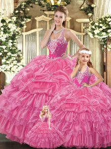 Romantic Rose Pink Lace Up Quinceanera Gown Ruffles and Pick Ups Sleeveless Floor Length