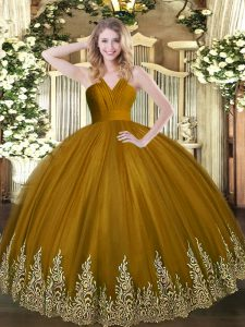 High Quality Brown Quinceanera Dress Military Ball and Sweet 16 and Quinceanera with Appliques V-neck Sleeveless Zipper