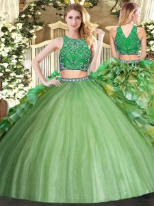 Suitable Olive Green Two Pieces Beading and Ruffles Quince Ball Gowns Zipper Tulle Sleeveless Floor Length
