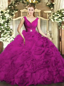 Eye-catching Sleeveless Backless Floor Length Beading and Ruching 15 Quinceanera Dress