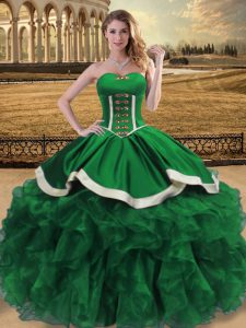 Dramatic Green Lace Up Quince Ball Gowns Beading and Ruffles Sleeveless Floor Length