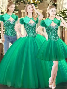 Green Lace Up Sweetheart Beading Quinceanera Gown Tulle Sleeveless