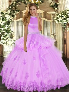 Affordable Beading and Ruffles Ball Gown Prom Dress Lilac Backless Sleeveless Floor Length