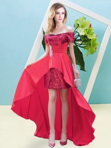 Best Long Sleeves High Low Beading Lace Up Dress for Prom with Coral Red