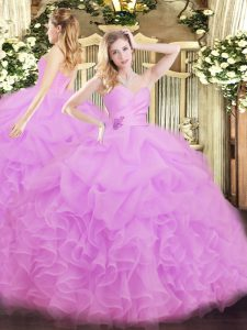 Lilac Ball Gowns Sweetheart Sleeveless Organza Floor Length Lace Up Beading and Ruffles 15th Birthday Dress