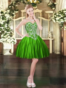 Glittering Green Lace Up Prom Evening Gown Beading Sleeveless Mini Length