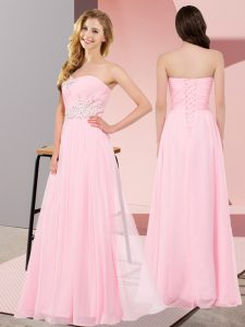 Superior Baby Pink Empire Appliques Homecoming Dress Lace Up Chiffon Sleeveless Floor Length
