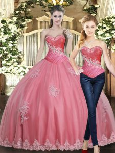 Fantastic Sleeveless Floor Length Beading and Appliques Lace Up Quinceanera Gown with Rose Pink