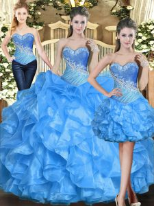 Baby Blue Sleeveless Floor Length Ruffles Lace Up Ball Gown Prom Dress