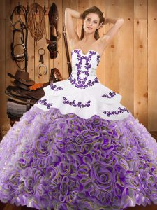 Multi-color Strapless Neckline Embroidery Quinceanera Gowns Sleeveless Lace Up