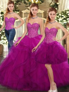 Fuchsia Quinceanera Dresses Military Ball and Sweet 16 and Quinceanera with Beading and Ruffles Sweetheart Sleeveless Lace Up