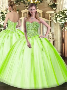 Shining Yellow Green Ball Gowns Beading Quinceanera Dress Lace Up Tulle Sleeveless Floor Length