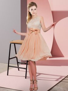 Scoop Sleeveless Dama Dress for Quinceanera Knee Length Lace and Bowknot Orange Red Chiffon