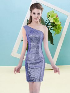 Column/Sheath Dress for Prom Lavender One Shoulder Sequined Sleeveless Mini Length Zipper