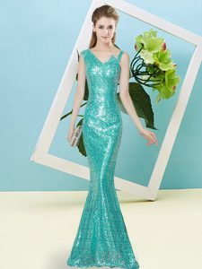 Dynamic Teal Sleeveless Floor Length Sequins Zipper Prom Party Dress