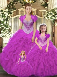 Fantastic Fuchsia Lace Up Quince Ball Gowns Beading and Ruffles Sleeveless Floor Length