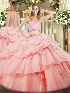 Great Pink Ball Gowns Beading and Ruffles Vestidos de Quinceanera Zipper Tulle Sleeveless Floor Length