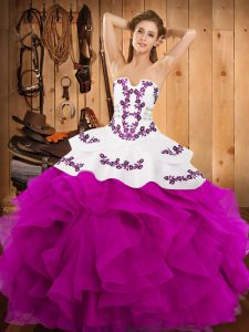 New Style Fuchsia Strapless Lace Up Embroidery and Ruffles Quince Ball Gowns Sleeveless