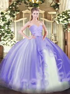 Lavender Sweetheart Neckline Ruffles Quinceanera Dresses Sleeveless Lace Up