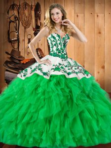 Sweetheart Sleeveless Quinceanera Gown Floor Length Embroidery and Ruffles Green Satin and Organza