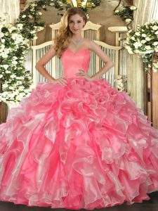 Stylish Sweetheart Sleeveless Quinceanera Dresses Floor Length Beading and Ruffles Watermelon Red Organza
