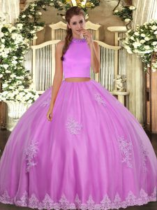 Trendy Lilac Halter Top Neckline Beading and Appliques 15 Quinceanera Dress Sleeveless Backless