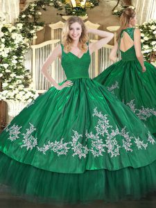 Dark Green Sleeveless Floor Length Beading and Lace and Appliques Backless Sweet 16 Dress