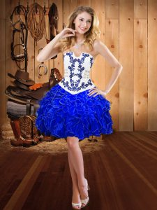 Royal Blue Strapless Neckline Embroidery and Ruffles Prom Party Dress Sleeveless Lace Up