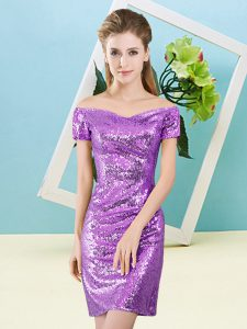 Eggplant Purple Short Sleeves Mini Length Sequins Zipper