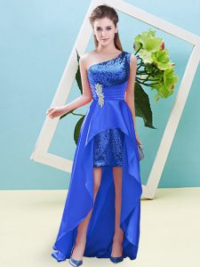 Nice Blue Sleeveless Elastic Woven Satin and Sequined Lace Up Prom Party Dress for Prom and Party
