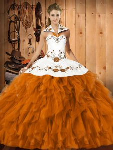 Beautiful Orange Red Sleeveless Embroidery and Ruffles Floor Length 15th Birthday Dress