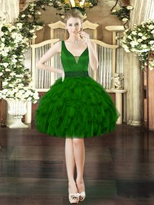 Elegant Sleeveless Mini Length Beading and Ruffles Lace Up Prom Evening Gown with Dark Green
