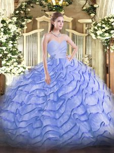 Blue Ball Gowns Sweetheart Sleeveless Organza Brush Train Lace Up Beading and Ruffled Layers Vestidos de Quinceanera