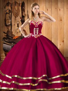 Traditional Ball Gowns Quince Ball Gowns Wine Red Sweetheart Organza Sleeveless Floor Length Lace Up