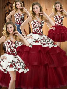 Flare Wine Red Quinceanera Gown Organza Sweep Train Sleeveless Embroidery