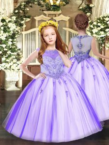 Lavender Scoop Zipper Beading and Appliques Pageant Dress for Teens Sleeveless
